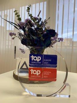 El galardón que certifica Angelini Pharma España como compañía Top Employer