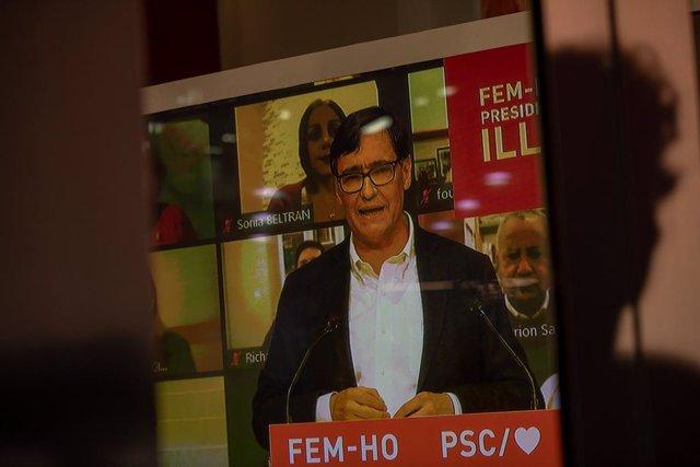El candidat del PSC a la presidència de la Generalitat, Salvador Illa, durant l'acte d'inici de campanya de les eleccions del 14-F. Catalunya (Espanya), 28 de gener del 2021.