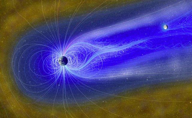 """Representación artística de la Luna en la magnetosfera, con el """"viento de la Tierra"""" compuesto por iones de oxígeno (gris) e iones de hidrógeno (azul brillante) que fluyen, que pueden reaccionar con la superficie lunar para crear agua."""
