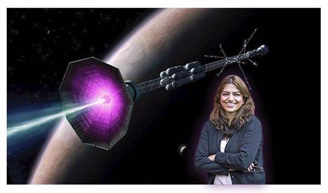 La física de PPPL Fatima Ebrahimi frente a la concepción de un artista de un cohete de fusión