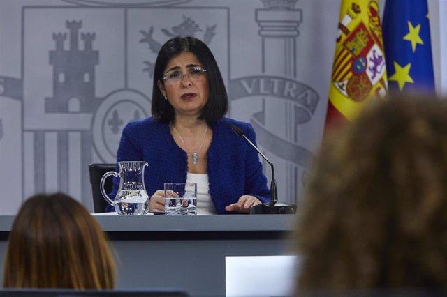 La ministra de Sanidad, Carolina Dariascomparece en rueda de prensa tras presidir la reunión del Consejo Interterritorial del Sistema Nacional de Salud, en el Complejo de la Moncloa, Madrid, (España), a 28 de enero de 2021.