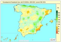 Las lluvias acumuladas en el conjunto de España desde octubre hasta el 26 de enero están un 3% por debajo del valor medio normal.