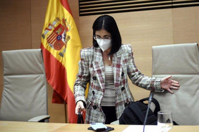 La ministra de Sanidad, Carolina Darias, a su llegada a una comparecencia en la Comisión de Sanidad y Consumo, en Madrid, (España), a 29 de enero de 2021.