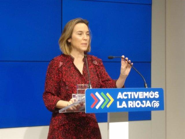 La portavoz del PP en el Congreso, Cuca Gamarra, realiza un balance del primer año de Gobierno de Sánchez