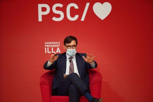 El candidat del PSC a les eleccions catalanes, Salvador Illa, durant un acte de campanya electoral.