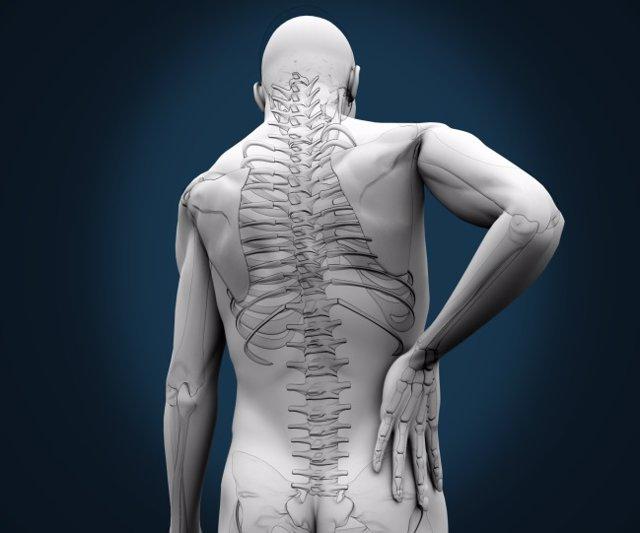 Skeleton having pain on his back