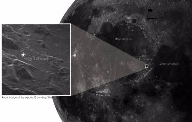 Nueva imagen de radar del lugar de aterrizaje del Apolo 15, ubicado con respecto a las características lunares prominentes.