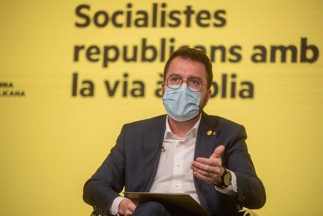 El vicepresident de la Generalitat en funcions i candidat d'ERC a la presidència, Pere Aragonès.