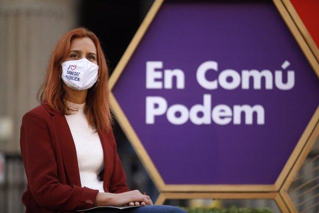 La candidata dels comuns a la presidència de la Generalitat, Jéssica Albiach, durant l'acte d'inici de campanya per als comicis del 14-F, a la Facultat de Medicina de l'Hospital Clínic. Catalunya (Espanya), 28 de setembre del 2021.