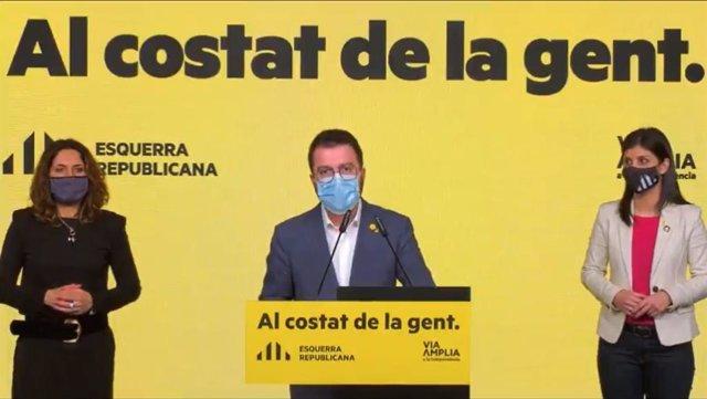 El candidat a la presidència i vicepresident de la Generalitat, Pere Aragonès, en l'acte de campanya d'ERC per presentar el seu programa electoral.