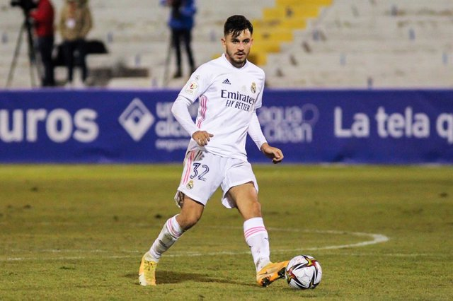 Victor Chust Garcia of Real Madrid CF in action during the spanish cup, Copa del Rey football match played between CD Alcoyano and Real Madrid at El Collao stadium on January 20, 2021 in Alcoy, Alicante, Spain.