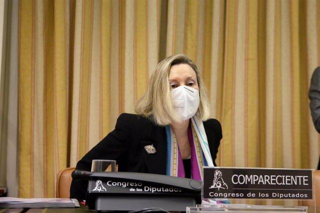 La subsecretaria de Defensa, Amparo Valcarce, en el Congreso