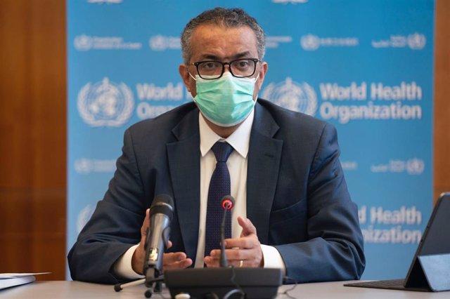 El director general de la Organización Mundial de la Salud (OMS), Tedros Adhanom Ghebreyesus, durante la reunión del Comité de Emergencias de la OMS. En Ginebra (Suiza), a 14 de enero de 2021.