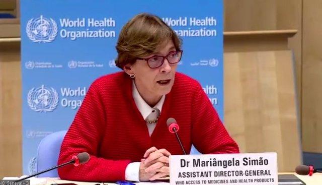La subdirectora de la Organización Mundial de la Salud (OMS) para el Acceso a los Medicamentos y Productos Sanitarios, Mariangela Simao, en rueda de prensa este viernes, Ginebra (Suiza), a 29 de enero de 2021.