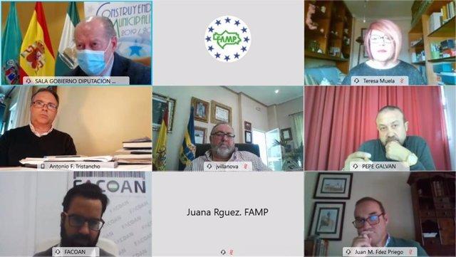 Imagen del encuentro virtual entre la FAMP y la asociación de autónomos Uatae, celebrado este viernes.