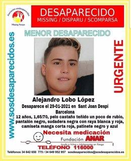 La Policia Nacional i Associació Sosdesaparecidos-Missing Person difonen la imatge d'un menor desaparegut el 29/1/21 a Sant Joan Despí (Barcelona)