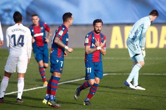 José Luis Morales celebra el seu gol a l'Alfredo di Stéfano
