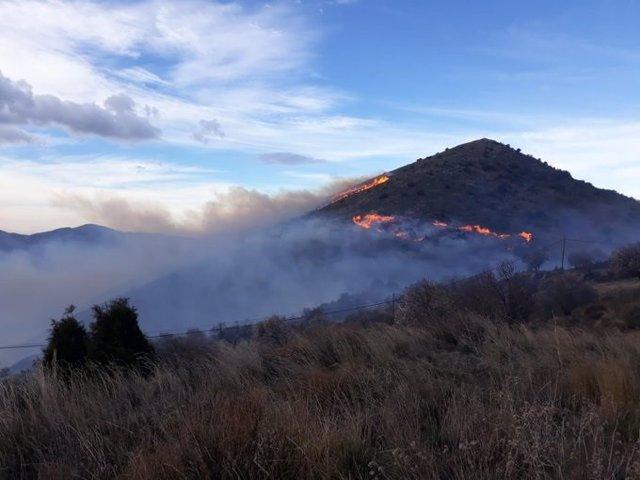 Incendio forestal en Juviles