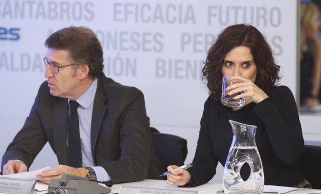 l presidente de la Xunta de Galicia, Alberto Núñez Feijóo y la presidenta de la Comunidad de Madrid, Isabel Díaz Ayuso