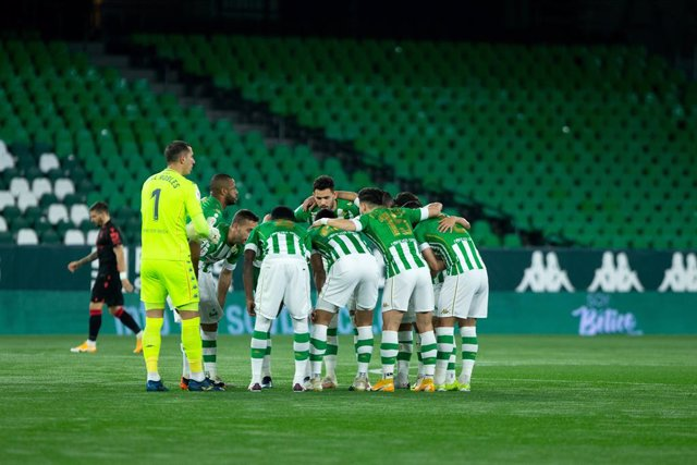 Formation of Real Betis during 1/8 round of Copa del Rey, football match played between Real Betis Balompie and Real Sociedad at Benito Villamarin Stadium on January 26, 2021 in Sevilla, Spain.