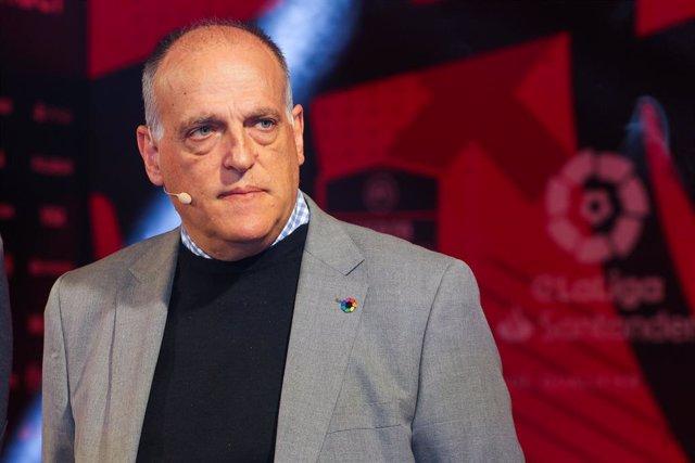Javier Tebas, presidente de LaLiga, durante una presentación en Madrid