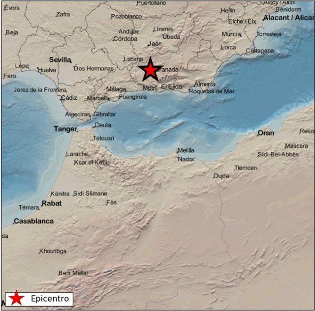 Mapa de un sismo con epicentro en Atarfe en la mañana de este lunes 1 de febrero