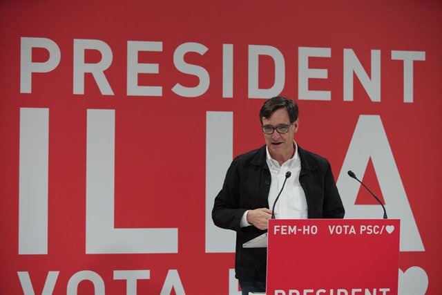 El candidat del PSC a la presidència de la Generalitat, Salvador Illa, en un acte telemàtic des de Tortosa (Tarragona).