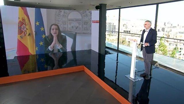 El candidat de Cs a la presidència de la Generalitat, Carlos Carrizosa, i la líder de Cs,  Inés Arrimadas.