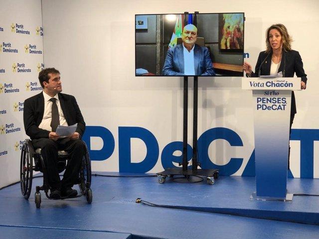 El president del PDeCAT, David Bonvehí; el president d'EBB del PNB, Andoni Ortuzar, i la candidata del PDeCAT a les eleccions catalanes, Àngels Chacón, participen en l'acte telemàtic 'Fent país amb sentit d'estat dia a dia'.
