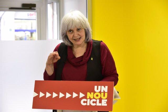 La candidata de la CUP a les eleccions, Dolors Sabater, intervé en una trobada digital d'Europa Press. Catalunya, (Espanya), 29 de gener del 2021. (Arxiu)