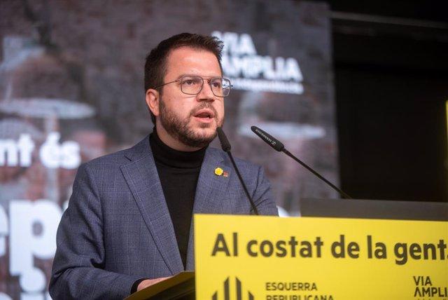 El vicepresident de la Generalitat en funcions i candidat d'ERC a la presidència, Pere Aragonès, en un acte telemàtic de campanya.