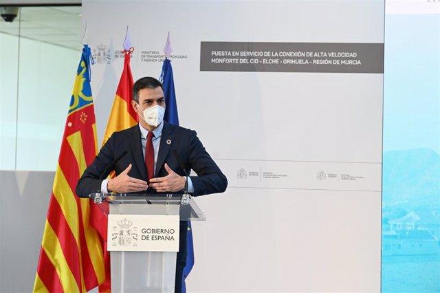 El presidente del Gobierno, Pedro Sánchez, inaugura el tramo de Alta Velocidad Monforte del Cid-Elche-Orihuela-Región de Murcia