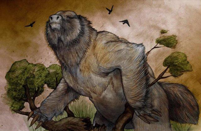 Recisntrucción del megaterio cuyo cráneo ha sido descubierto en Argentina