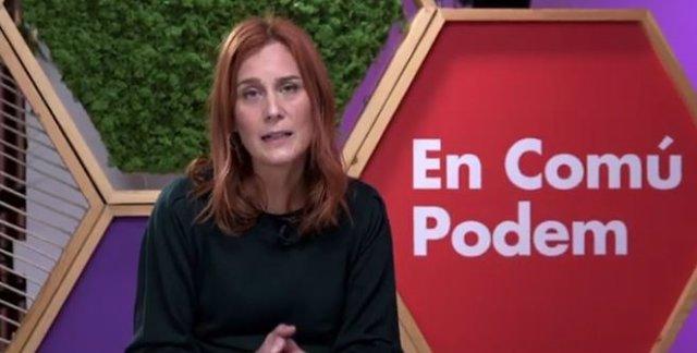 Jéssica Albiach (comuns) en l'acte telemàtic 'La transició ecològica que Catalunya mereix'. L'1 de febrer de 2021.