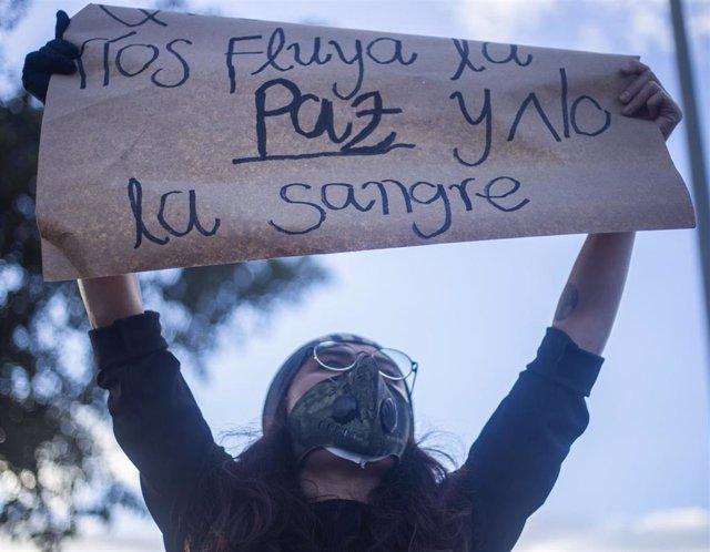 Protesta celebrada en Bogotá, Colombia, por las masacres ocurridas en varias zonas rurales del país.