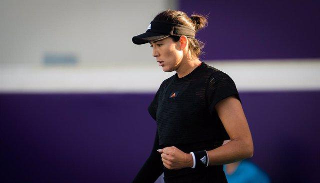 Garbine Muguruza of Spain in action during her second round match at the 2021 Abu Dhabi WTA Womens Tennis Open WTA 500 tournament against Aliaksandra Sasnovich of Belarus