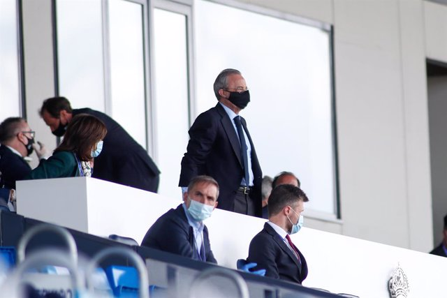 Florentino Perez, President of Real Madrid, looks on during the spanish league, LaLiga, football match played between Real Madrid and SD Eibar at Alfredo Di Stefano Stadium at Ciudad Deportiva Real Madrid in the restart of the Primera Division tournament