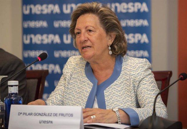 Pilar González de Frutos, presidenta de UNESPA, durante la presentación del portal Prevenir para vivir.