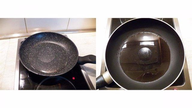 Mancha seca en sartén antiadherente GRANITEC; derecha: mancha seca en sartén revestida con TEFLON