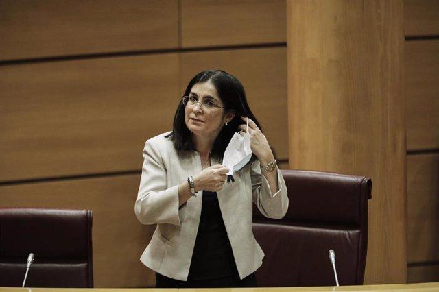 La ministra de Política Territorial y Función Pública, Carolina Darias, minutos antes de su comparecencia en el Senado en Comisión de su departamento. En Madrid (España), a 4 de junio de 2020.