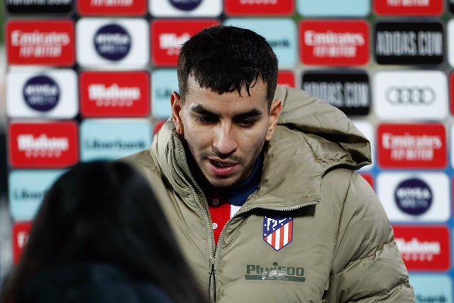 Angel Correa of Atletico de Madrid attends after the spanish league, La Liga Santander, football match played between Real Madrid and Atletico de Madrid at Ciudad Deportiva Real Madrid on december 12, 2020, in Valdebebas, Madrid, Spain