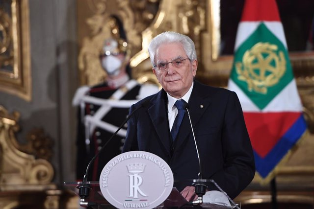 02 February 2021, Italy, Rome: Italian President Sergio Mattarella speaks to media after his meeting with President of the Italian Chamber of Deputies Roberto Fico who was mediating the Italian party meetings to form a new government, at the Quirinale pre
