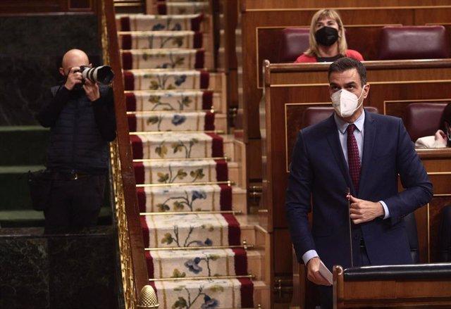 El presidente del Gobierno, Pedro Sánchez, durante una sesión de control al Gobierno