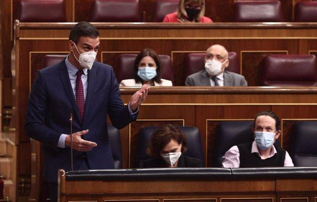El president del Govern central, Pedro Sánchez, intervé durant una sessió de control al Congrés.
