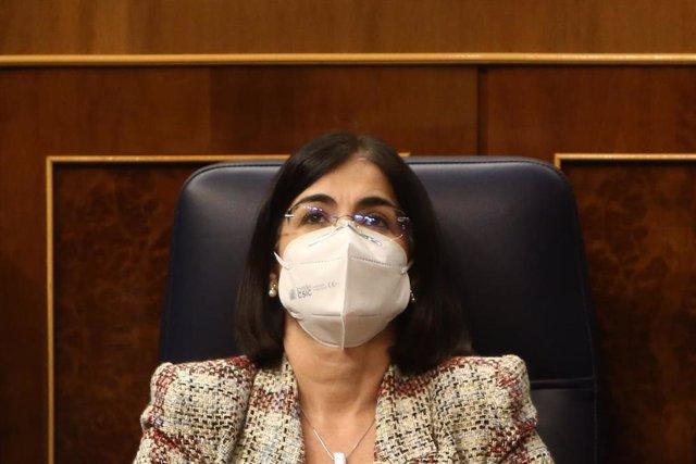 La ministra de Política Territorial y Función Pública, Carolina Darias, durante una sesión de control al Gobierno, en Madrid (España), a 16 de diciembre de 2020.