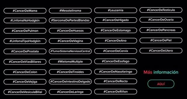 TikTok crea 32 'hashtags' de los 32 tipos de cáncer más comunes en España