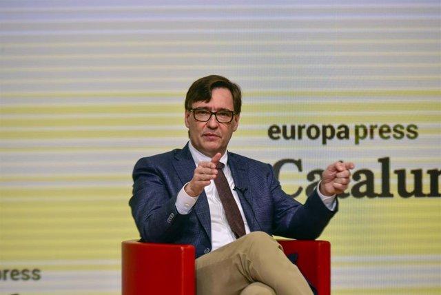 El candidat del PSC a la presidència de la Generalitat, Salvador Illa, en la Trobada Digital d'Europa Press.