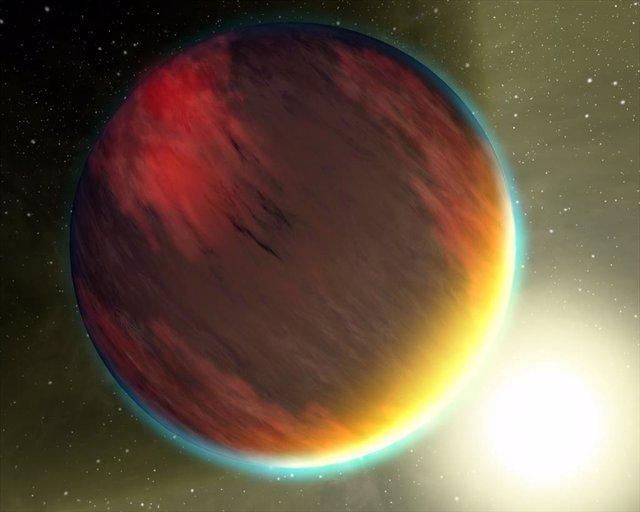 Impresión artística de un planeta de tipo júpiter caliente.