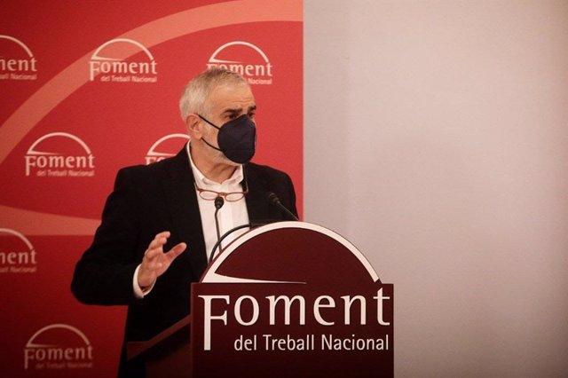 El candidat de Cs al 14-F, Carlos Carrizosa, en una conferència que ha organitzat Foment del Treball. 3 de febrer del 2021.