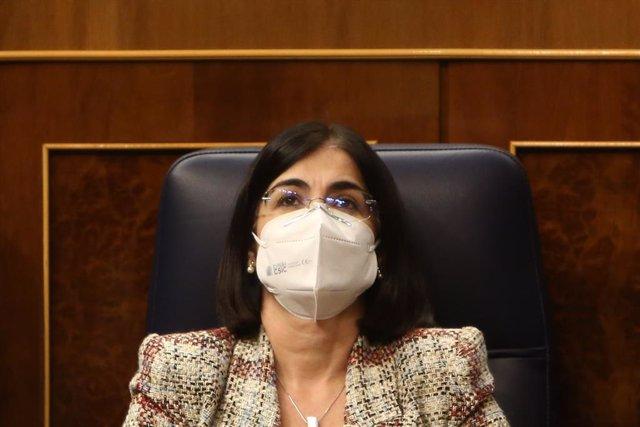La ministra de Política Territorial i Funció Pública, Carolina Darias, durant una sessió de control. Madrid (Espanya), 16 de desembre del 2020.